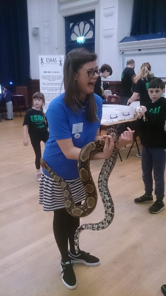 Orla overcomes her fear of holding snakes